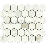 2 inch Hexagon Honed Italian Calacatta Gold Mosaic Tile - DEKO Tile