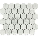 2 inch Hexagon Honed Italian Bianco Carrara Mosaic Tile - DEKO Tile
