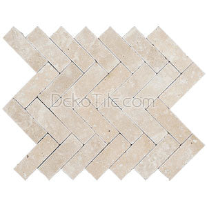 Ivory Classic Travertine Tumbled 1 x 3 Herringbone Mosaic Tile - DEKO Tile