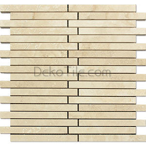 5/8 x 6 Offset Ivory Classic Travertine Honed Mosaic Tile - DEKO Tile