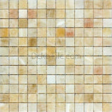 1 x 1 Honey Onyx Polished Mosaic Tile - DEKO Tile