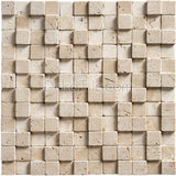 1 x 1 Ivory Classic Travertine 3D Tumbled Mosaic Tile - DEKO Tile