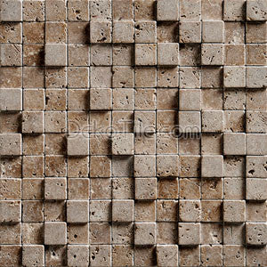 1 x 1 Noce Travertine 3D Tumbled Mosaic Tile - DEKO Tile