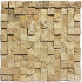 1 x 1 Noce Travertine Cubic Splitface Mosaic Tile - DEKO Tile