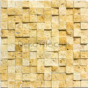 1 x 1 Yellow Travertine Cubic Splitface Mosaic Tile - DEKO Tile