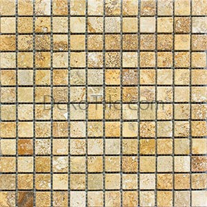 1 x 1 Yellow Travertine Mosaic Tile - DEKO Tile