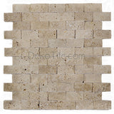 1 x 2 Ivory Classic Travertine Splitface Mosaic Tile - DEKO Tile