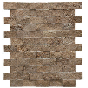1 x 2 Noce Travertine Splitface Mosaic Tile - DEKO Tile