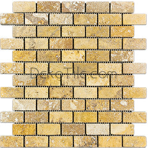 1 x 2 Yellow Travertine Mosaic Tile - DEKO Tile
