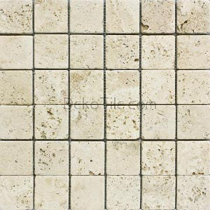 2 x 2 Ivory Classic Travertine Mosaic Tile - DEKO Tile