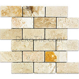 2 x 4 Agora Travertine Tumbled Mosaic Tile - DEKO Tile