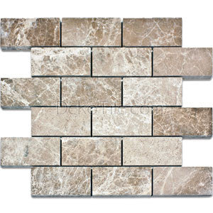 2 x 4 Emperador Light Polished Mosaic Tile - DEKO Tile