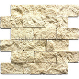 2 x 4 Ivory Classic Travertine Splitface Mosaic Tile - DEKO Tile