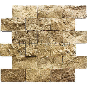 2 x 4 Noce Travertine Splitface Mosaic Tile  - DEKO Tile