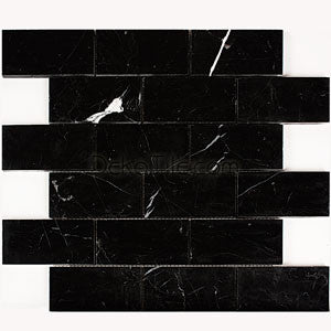 2 x 4 Polished Black Marquina Mosaic Tile - DEKO Tile