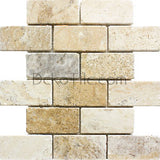 2 x 4 Philadelphia Travertine Tumbled Mosaic Tile - DEKO Tile