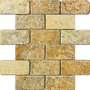 2 x 4 Yellow Travertine Mosaic Tile - DEKO Tile