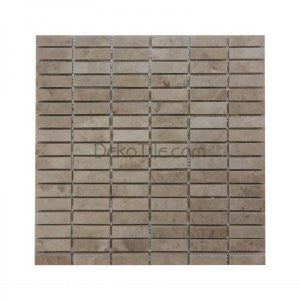 5/8 x 1 7/8 Polished Cappuccino Marble Stacked Mosaic - DEKO Tile