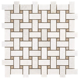 Polished Thassos White and Crema Marfil Basketweave Mosaic Tile - DEKO Tile