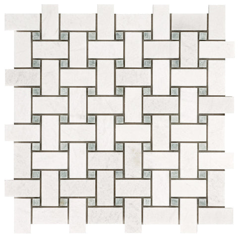 Polished Thassos White and Ming Green Basketweave Mosaic Tile - DEKO Tile