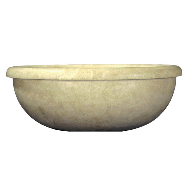 Travertine Sink Bowl: Ivory Classic Travertine Round Drop-in Bowl Sink