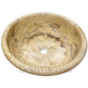 Scabos Travertine Round Drop-in Bowl Sink - DEKO Tile
