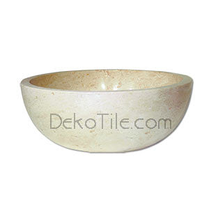 Ivory Classic Travertine Round Undermount Bowl Sink - DEKO Tile