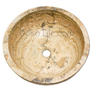 Scabos Travertine Round Undermount Bowl Sink - DEKO Tile
