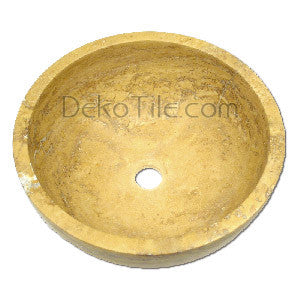 Yellow Travertine Round Undermount Bowl Sink - DEKO Tile