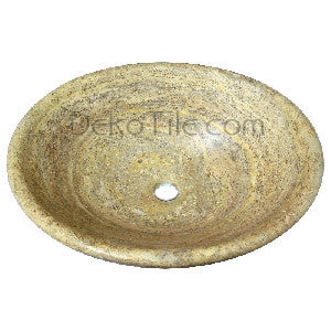 Scabos Travertine Oval Vessel Bowl Sink - DEKO Tile