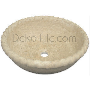 Ivory Classic Travertine Round Pie Drop-in Bowl Sink - DEKO Tile