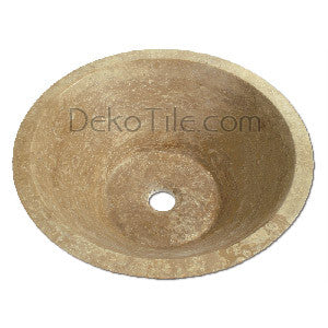 Noce Travertine Round V Vessel Sink - DEKO Tile