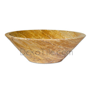 Yellow Travertine Round V Vessel Sink  - DEKO Tile