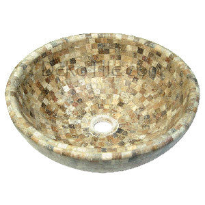 Scabos Travertine Round Mosaic Vessel Sink - DEKO Tile