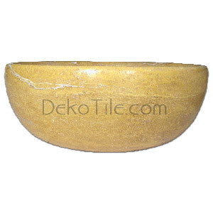 Yellow Travertine Round Vessel Sink - DEKO Tile