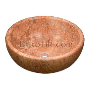 Red Travertine Round Vessel Sink - DEKO Tile