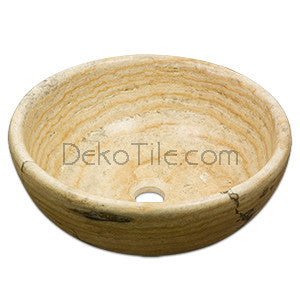 Scabos Travertine Round Vessel Sink - DEKO Tile