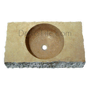 Noce Travertine Rectangular Hammered Vessel - DEKO Tile