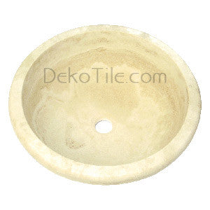 Ivory Classic Travertine Round Drop-in Sink- Flat Edge - DEKO Tile