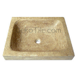 Noce Travertine Rectangular Drop-in Sink- Flat Edge - DEKO Tile
