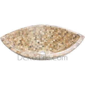 Scabos Travertine Mosaic Boat Vessel - DEKO Tile