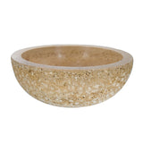 16 Noce Hammered Vessel Round Edge Sink Travertine - DEKO Tile