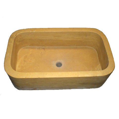 66 x 38 x 20 Yellow Farm Vessel Sink Travertine - DEKO Tile