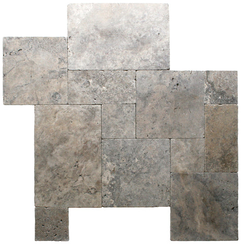 Silver Travertine Brushed and Chiseled Edge French Pattern Tile - DEKO Tile