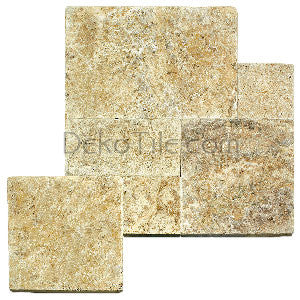 French Pattern 1 1/4 thick Scabos Travertine Tumbled Pavers - DEKO Tile