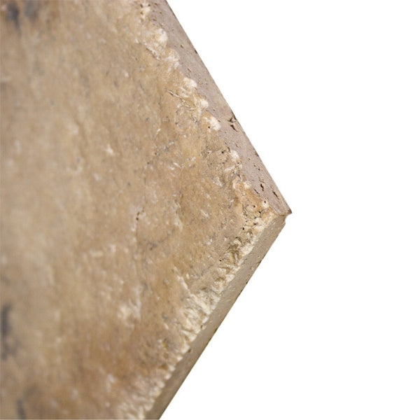 Walnut Dark Antiqued Travertine Tiles 18x18: 18 X 18 Antique Gold Brushed Unfilled And Chiseled Edge