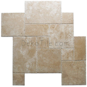 Versaille Pattern (French Pattern) Ivory Classic Travertine Brushed & Chiseled - DEKO Tile