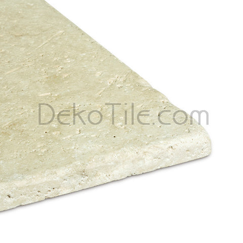4 x 4 Ivory Classic Travertine Tumbled Tile - DEKO Tile