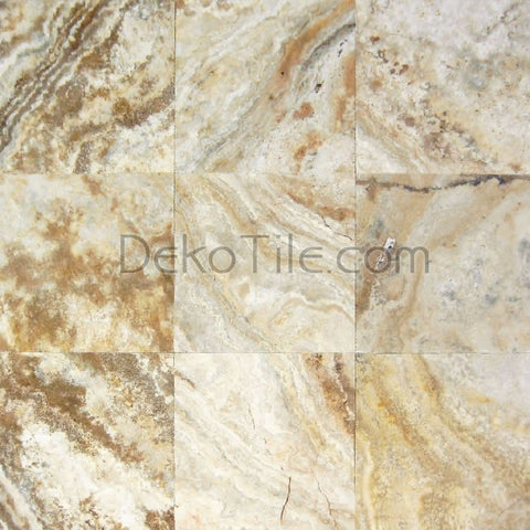 6 x 12 x 1 1/4 Scabos Travertine Tumbled Pavers - DEKO Tile