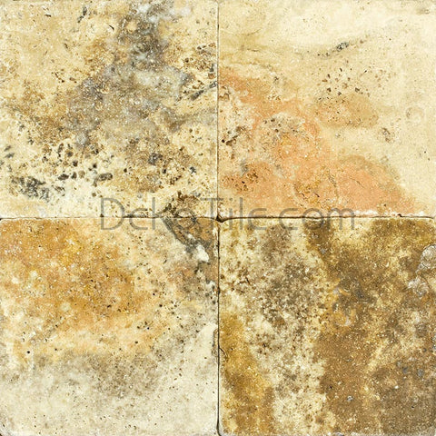 4 x 4 Scabos Travertine Tumbled Tile - DEKO Tile